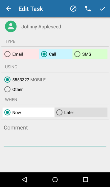 Task with phone number