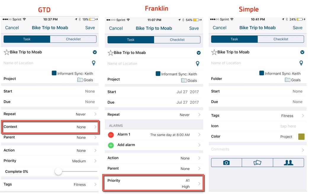 GTD vs Franklin Detail screen