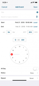 Time Picker: Hours